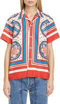 Bode Calico Quilt Print Camp Shirt