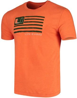 Life is Good Men's Orange Miami Hurricanes Team Flag T-Shirt