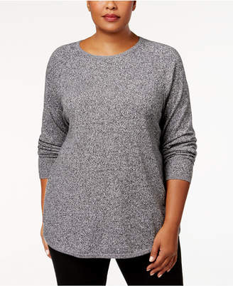 Karen Scott Plus Size Curved-Hem Pullover Sweater
