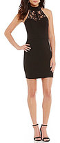 B. Darlin Mock Neck Lace-Yoke Sheath Dress