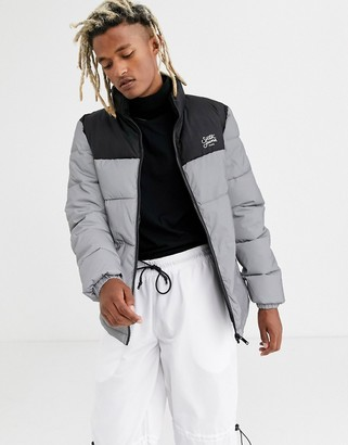 Sixth June puffer jacket with reflective panel-Silver