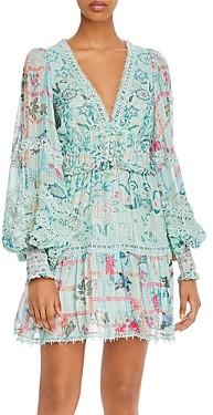 HEMANT AND NANDITA Floral Print Lace Trim Dress