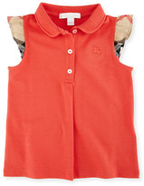 Burberry Mini Tia Sleeveless Pique Polo Shirt, Red, Size 12M-3