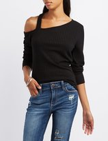 Charlotte Russe Ribbed Asymmetrical Cut-Out Tee