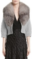 Yigal Azrouel Women's Merino Wool & Cashmere Knit Bolero With Removable Genuine Fox Fur Collar