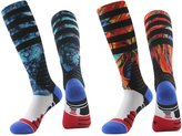 J'colour Mens Color Printed Elite Dri-Fit Knee High Winter Warm Basketball Socks,2-Pack,Multicolour1,Size(10 -13)