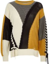 River Island Womens Cream color block ladder lace-up sweater
