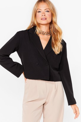 Nasty Gal Womens Stop Short Cropped Double Breasted Blazer - Black - 8, Black