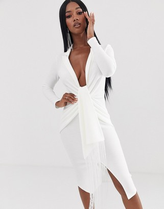 Asos Design DESIGN Long sleeve textured fringe shirt midi dress-White