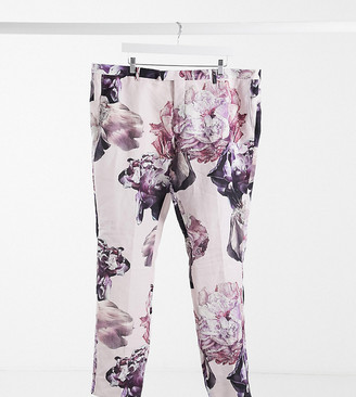 Twisted Tailor PLUS slim linen suit trousers in dusty pink with floral print
