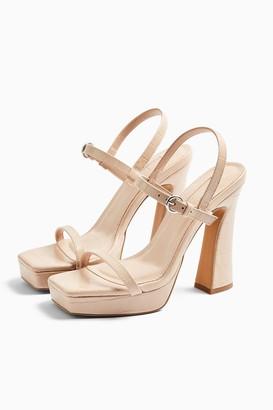 Topshop RENA Beige Two Part Platform Sandals