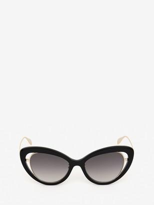 Alexander McQueen Open Wire Cat-Eye Sunglasses