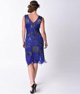 Unique Vintage 1920s Style Royal Blue Beaded Fringe Bosley Flapper Dress
