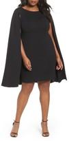 Adrianna Papell Plus Size Women's Cape Sheath Dress