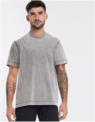 Good For Nothing bleach wash t-shirt with logo in gray
