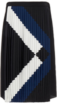 Tibi Maritime Border Striped Pleated Skirt