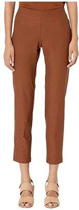 Eileen Fisher Washable Stretch Crepe Slim Ankle Pants w/ Yoke (Nutmeg) Women's Casual Pants