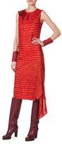 Akris Sleeveless Printed Asymmetric-Panel Dress, Red