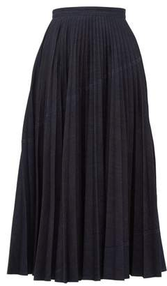 Valentino Pleated Denim Skirt - Womens - Denim