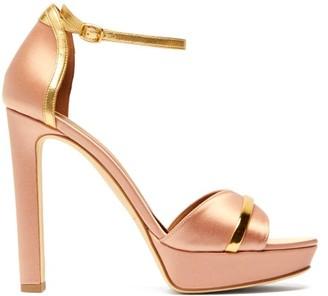Malone Souliers Miranda Satin Platform Sandals - Pink Gold