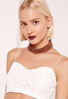 Missguided Layered Pearl Choker Rose Gold