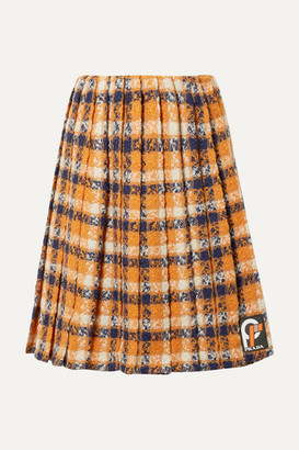 Prada Pleated Checked Wool-tweed Skirt - Orange