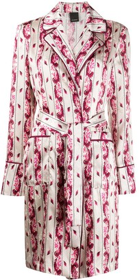 Pinko Paisley Print Belted Coat
