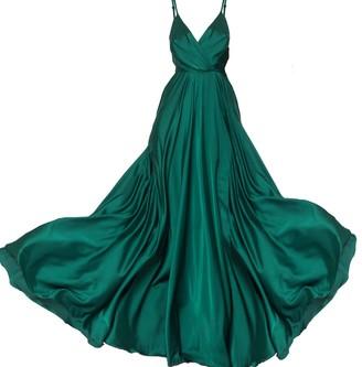 Angelika Jozefczyk Satin Long Dress Emerald
