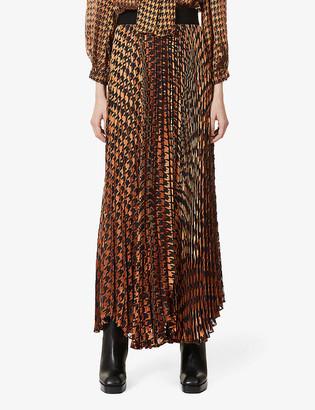 Alice + Olivia Katz graphic-print pleated jacquard midi skirt