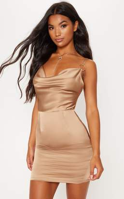 PrettyLittleThing Champagne Satin Cowl Neck Ring Detail Bodycon Dress