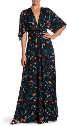 Rachel Pally Floral Drawstring Waist Knit Maxi Dress