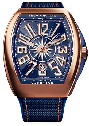 Franck Muller Vanguard Yachting Rose Gold, Leather Rubber Strap Watch