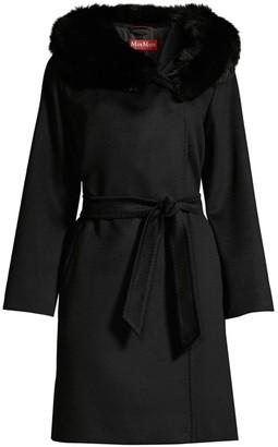 Max Mara Fox Fur Trimmed Hooded Coat