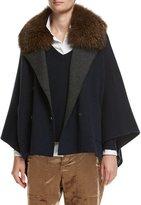 Brunello Cucinelli Cashmere Double-Breasted Poncho with Fox Collar