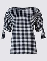 Marks and Spencer Gingham Round Neck Tie Sleeve T-Shirt