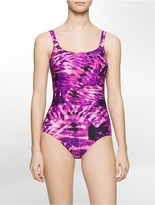 Calvin Klein Ruched Abstract Batik One-Piece Swimsuit