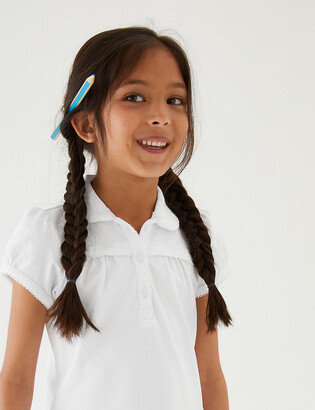 Marks and Spencer 2pk Girls' Cotton Regular Fit School Polo Shirts