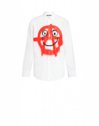 Moschino Spray Print Poplin Shirt Man White Size 38 It