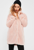 Missguided Pink Pressed Faux Fur Coat