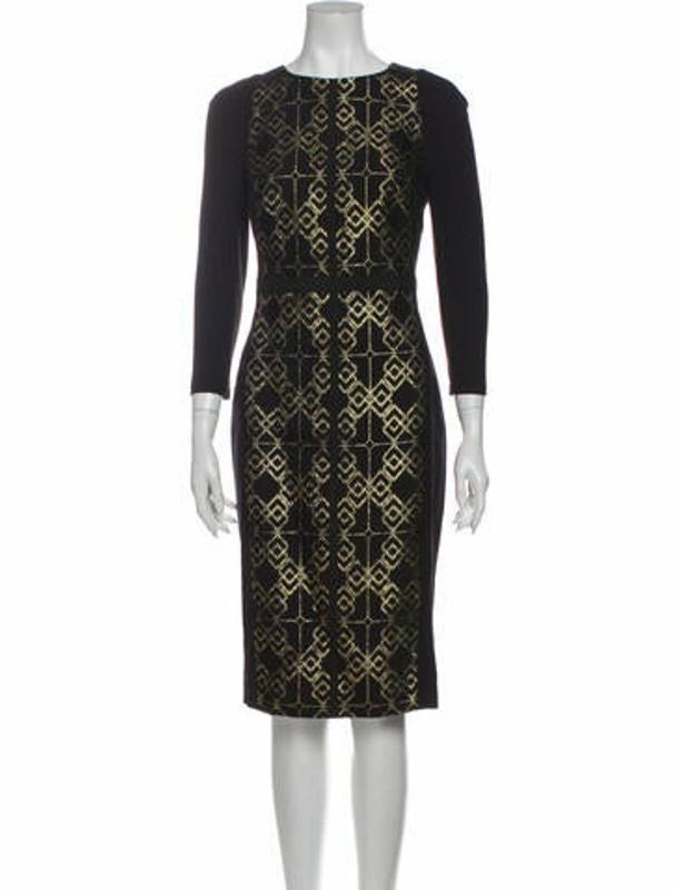 Ted Baker Printed Midi Length Dress w/ Tags Black