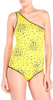 Jimmy Choo One Shoulder Star Print One-Piece Swimsuit