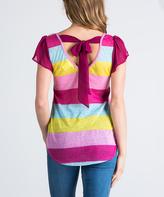 Pink & Yellow Stripe Tie-Back Hi-Low Tee