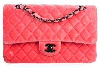 Chanel Quilted Velvet Classic Medium Double Flap Bag