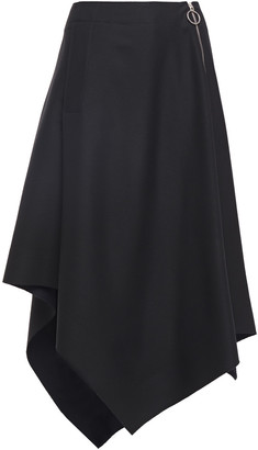Cédric Charlier Asymmetric Zip-detailed Wool-twill Midi Skirt