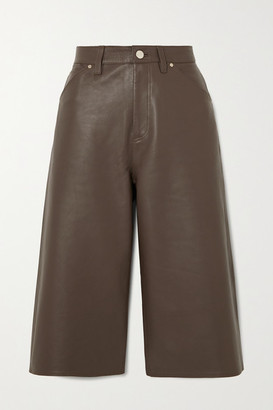 Gold Sign Leather Shorts - Green