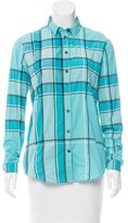 Burberry Plaid Printed Button-Up Top