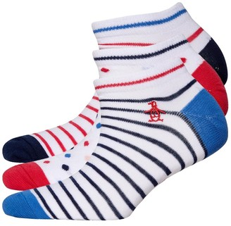 Original Penguin Womens Three Pack Trainer Liners Stripe White Blue Red