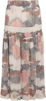See by Chloe Printed crepe-chiffon midi skirt