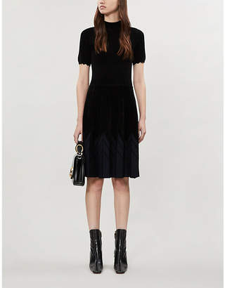 Sandro Arnis graphic-pattern chenille mini dress
