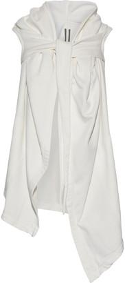 Rick Owens Asymmetric Draped Cotton-fleece Hooded Vest